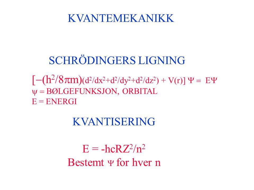 [-(h2/8pm)(d2/dx2+d2/dy2+d2/dz2) + V(r)] Y = EY